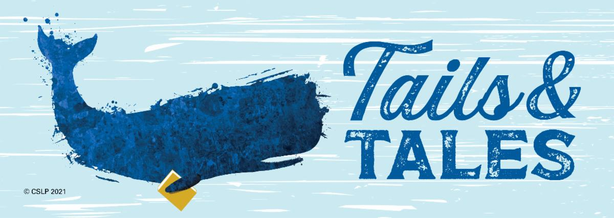 """Illustration of a whale holding a book, next to the slogan """"Tails & Tales"""""""