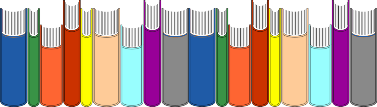 Illustration of several books lined up in a row