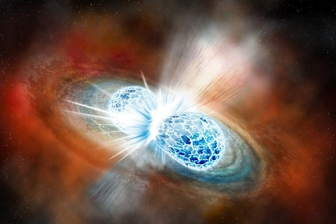 An artist_s rendering of the merger of two neutron stars from Aug. 17.