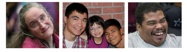 A series of three horizontal pictures separated by a white border. The first picture is of a woman with dark blond hair, wearing a pink shirt and glasses. She is in a wheelchair, and has her head tilted to the side, smiling at the camera. The next picture is of an Asian American family. On the left is a man with dark brown, short hair. He is wearing a plaid shirt with a white shirt visible underneath. To the right of him is a young girl with dark brown shoulder length hair and bangs. She is wearing glasses and a pink shirt. To her right is a young man, with short brown hair smiling at the camera. The last picture is of a Black man. He is laughing while looking at the camera. He is wearing a white and gray striped shirt.