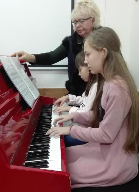 Children play piano