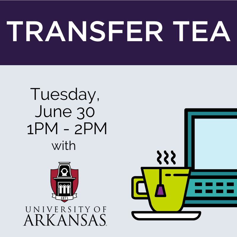 transfer tea tuesday june 30  1 pm to 2pm with university of arkansas