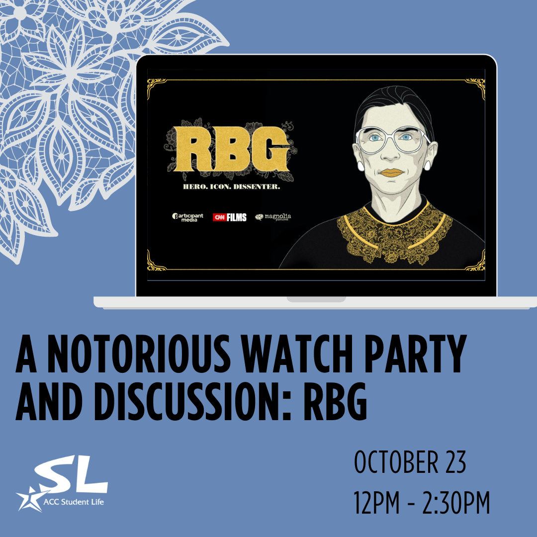 A Notorious Watch Party and Discussion: RBG October 23 12:00 - 2:30 PM