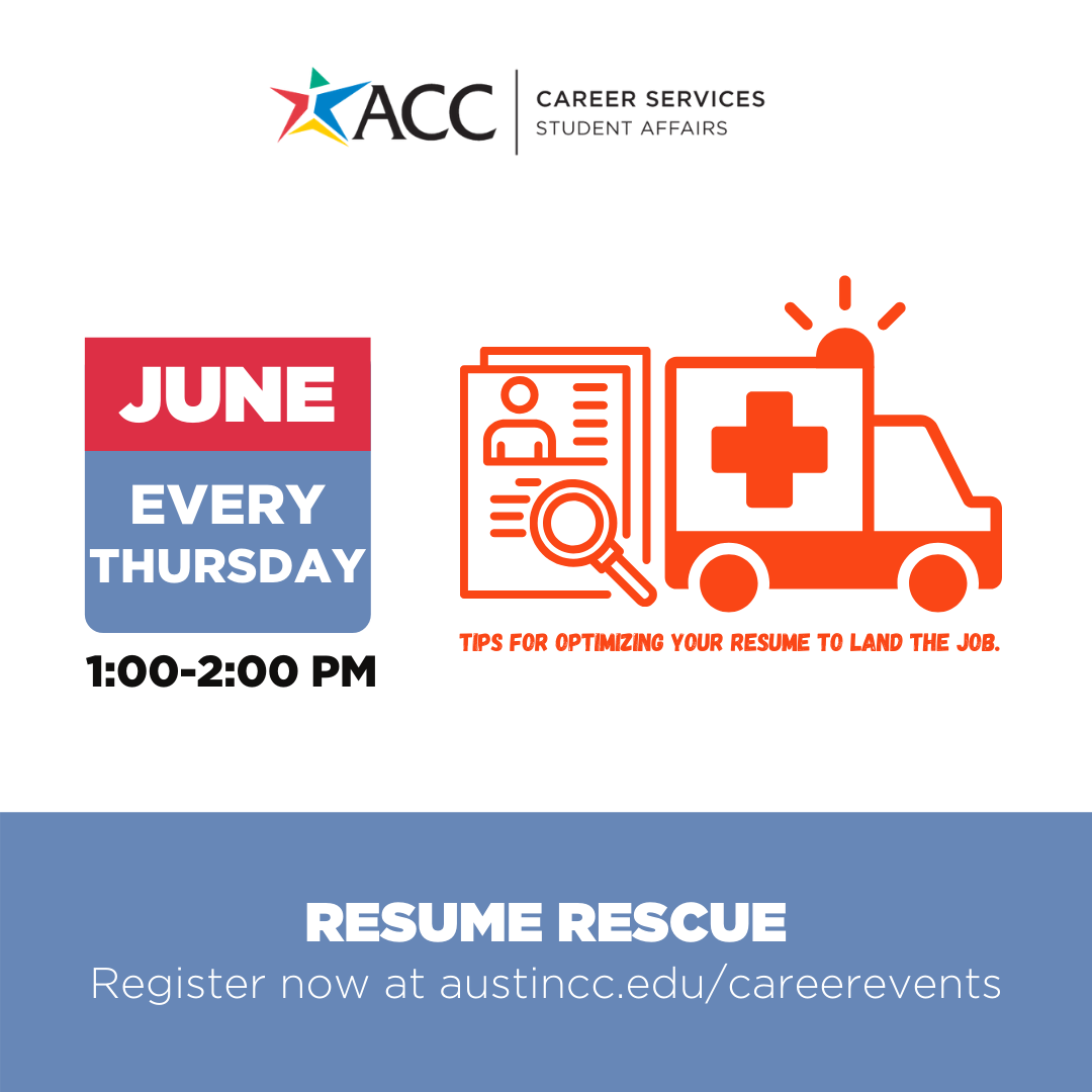 every thursday 1 pm to 2pm career services offers resume rescue