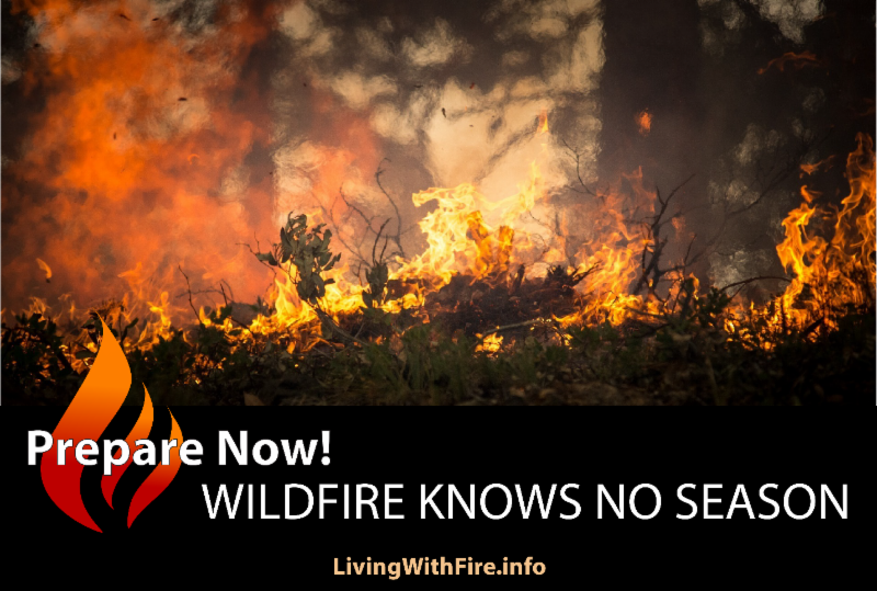 Photo of wildfire in a forest. Below photo is a flame icon and text that says Prepare Now! WILDFIRE KNOWS NO SEASON.  LivingWithFire.info