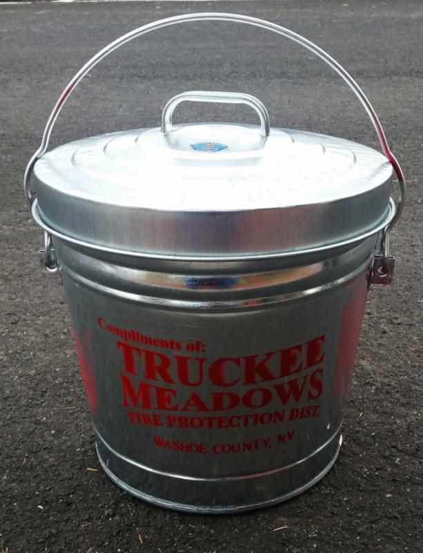A Truckee Meadows Fire Protection District ash can.