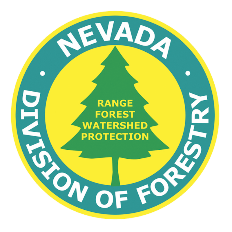 Logo for Nevada Division of Forestry.  Outer circle reads Nevada Division of Forestry. Inside is a pine tree shape with text reading Range Forest Watershed Protection.