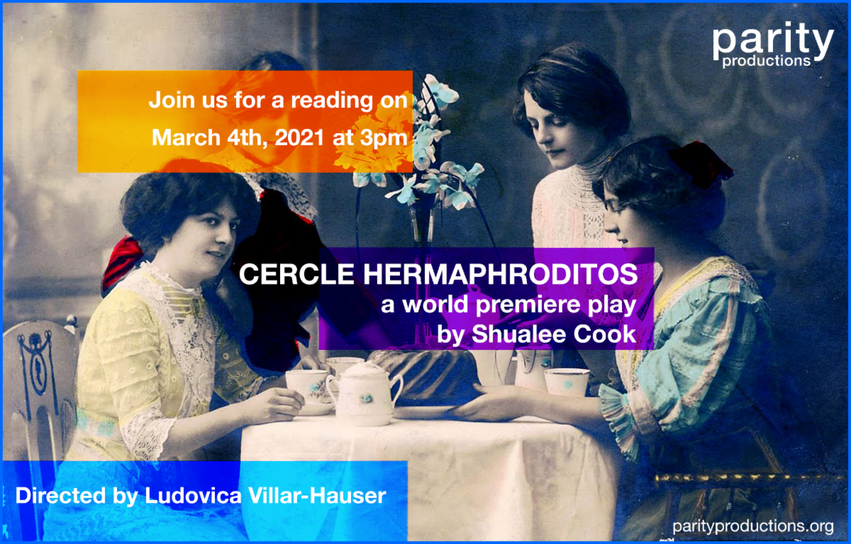 Poster art of the play Cercle Hermaphroditos by Shualee Cook. Early 1900s photograph of four people around a table drinking tea.
