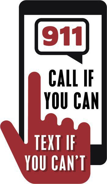 """Image of a finger texting on a mobile phone with the text """"911 Call if you Can. Text if you can't."""""""