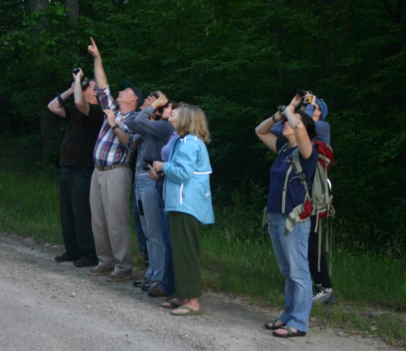 Group of people looking through binoculars