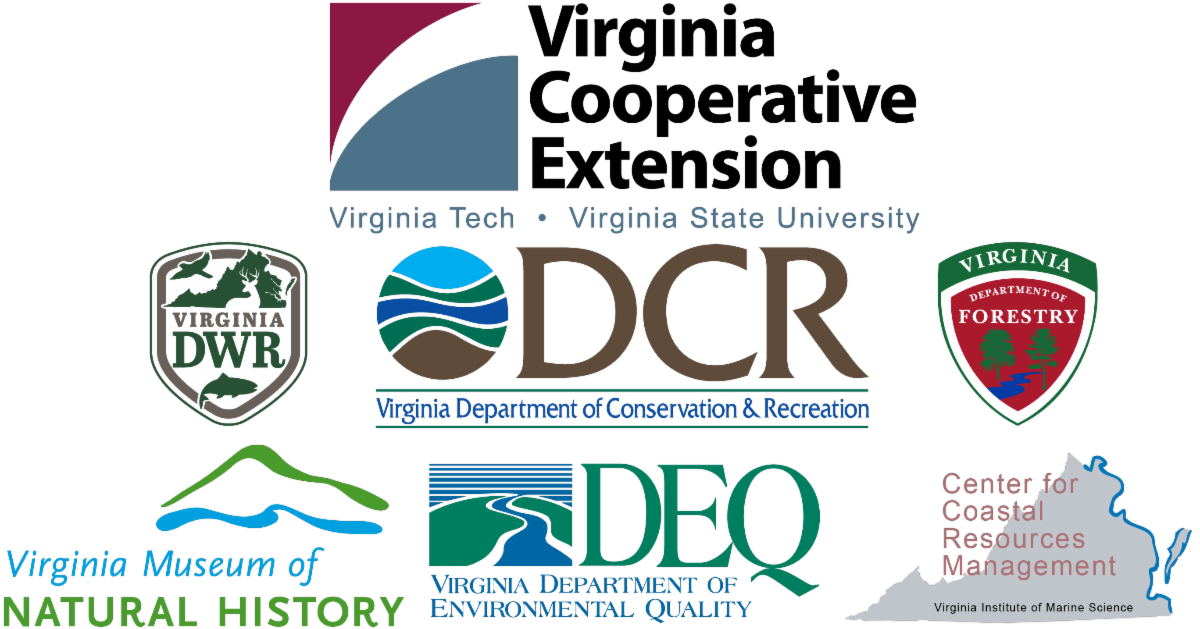 collection of logos from VA Cooperative Extension, VA Dept. of Wildlife Resources, VA Dept. of Conservation and Recreation, VA Dept. of Forestry, VA Museum of Natural History, VA Dept. of Environmental Quality, and Center for Coastal Resources Management