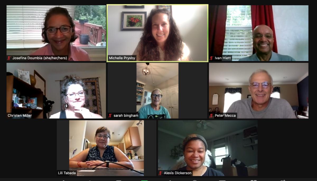 screen shot of 8 people in online meeting