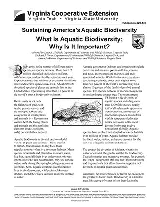 image of the front page of a printed article called What is Aquatic Biodiversity; Why Is It Important?