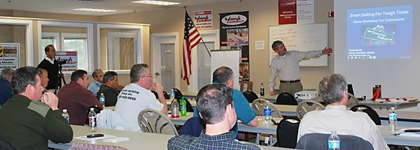 Shawn McCadden teaching to an attentive class at National Lumber Mansfield