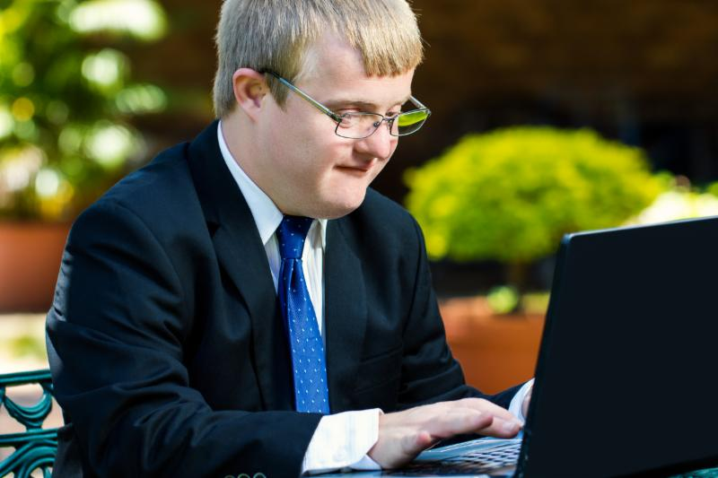 Student with Disability on laptop