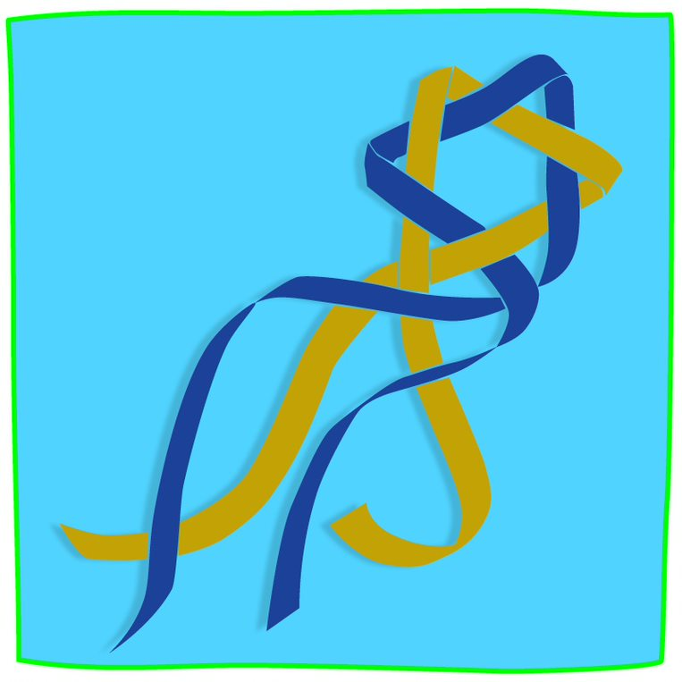 Blue and gold ribbons woven together in the shape of a Jewish star.