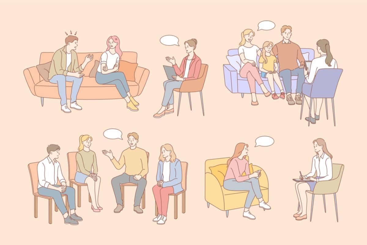 Family in therapy. Four different scenes. Children with parents. Adult to adult. Four adults. Man and woman with a therapist.