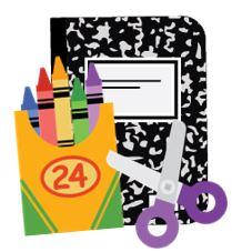 Notebook, crayons, scissors