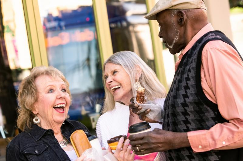 Older adults having fun together
