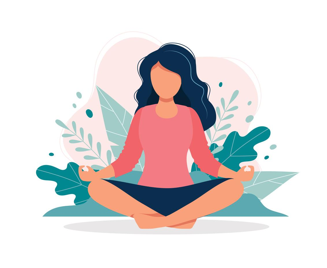 A woman in the lotus yoga position.