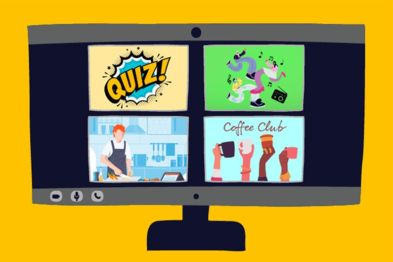 """Computer monitor with 4 boxes containing the following images; the word """"QUIZ"""", people dancing, a person cooking, hands holding coffee mugs."""