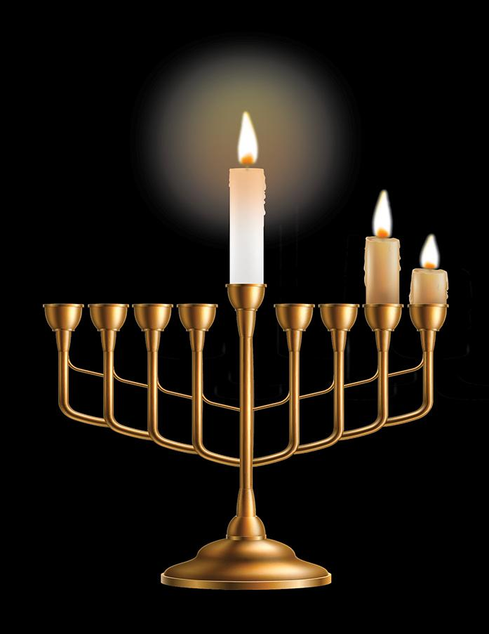 menorah with 3 candles