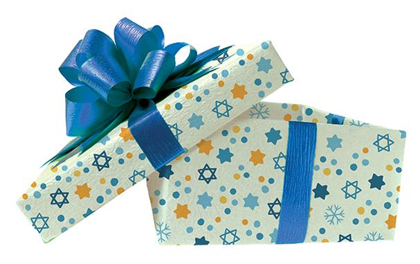 Present with Hanukkah gift wrap and bow