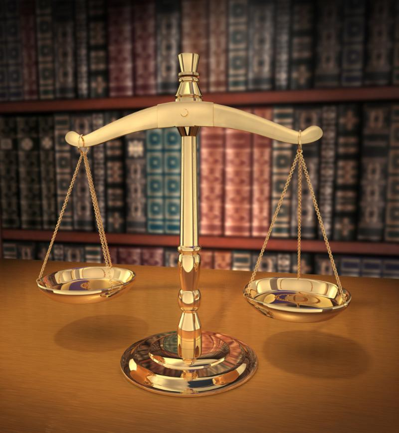 Scales of justice in library setting