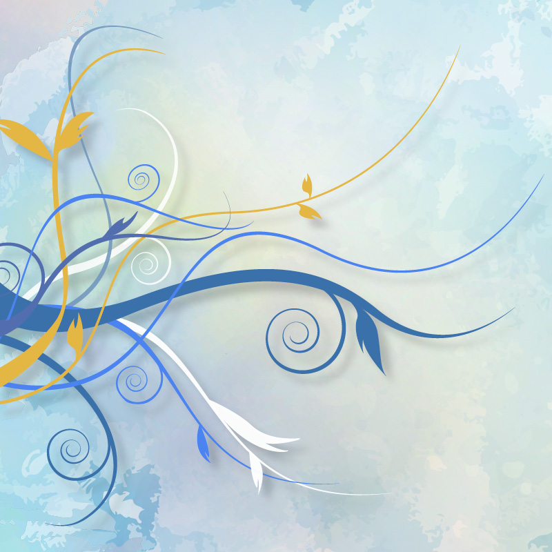 Gold, blue and white illustrated swirls, like vines with leaves over a blue and white watercolor type background