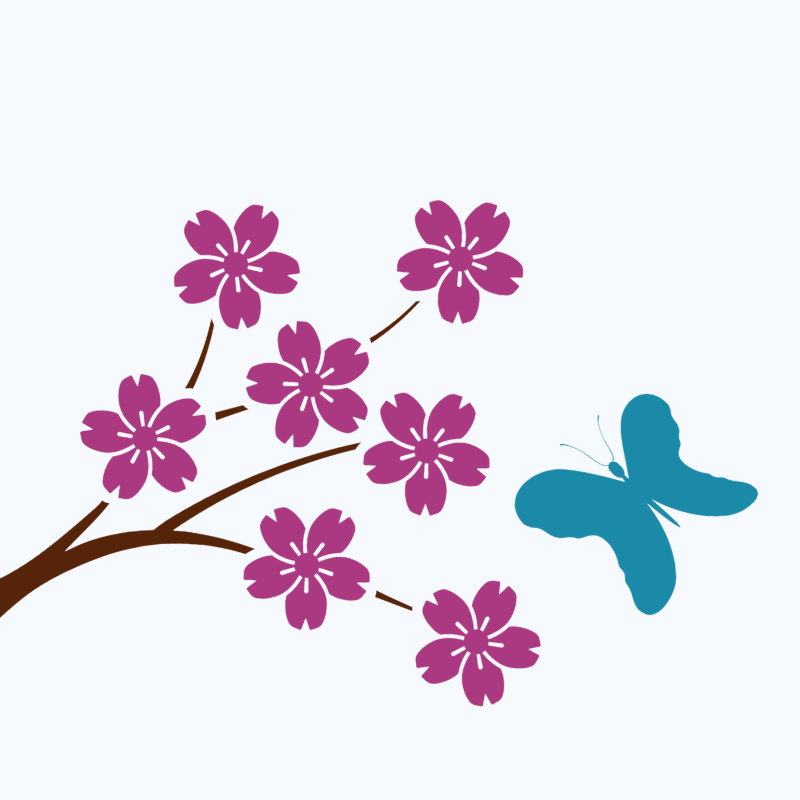 Pink Flowers blooming on a tree with a turquoise butterfly flying past