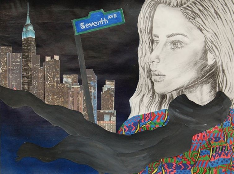 drawing_ girl looking at cityscape and 7th ave street sign