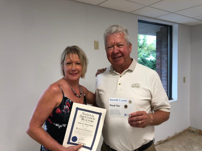 Dale Marciniak was presented his Emeritus certificate and pin at the Sept. 20th GMAR Directors meeting