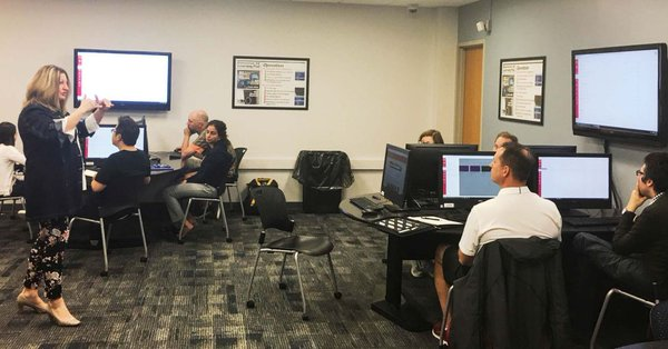 Lesya facilitating a Canvas workshop. (photo credit Hannah Dong, Iowa State Daily