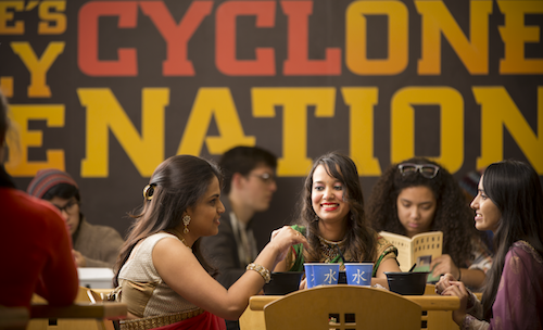 Picture of students eating in a dining center