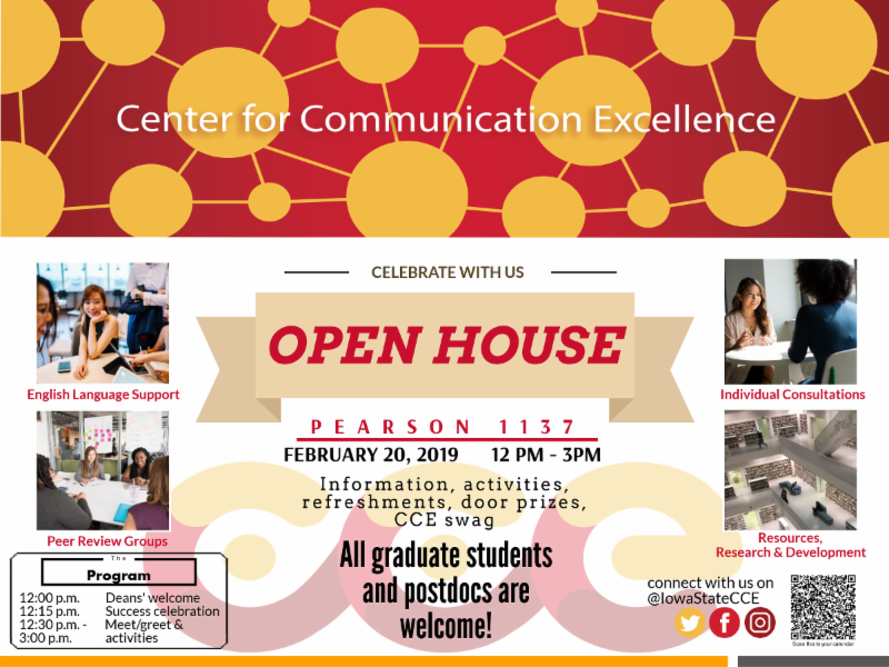 Open house for Center for Communication Excellence is February 20 from 12-3 in 1137 Pearson Hall