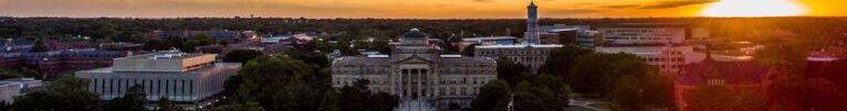 Iowa State campus at sunset