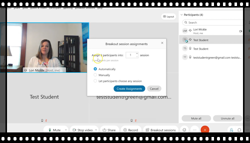 A demonstration on how to use breakout sessions in Webex