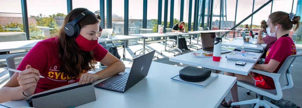 Students studying in the Student Innovation Center at Iowa State University