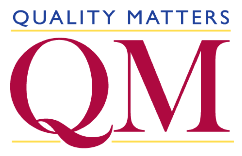 Quality Matters written in blue over QM in red