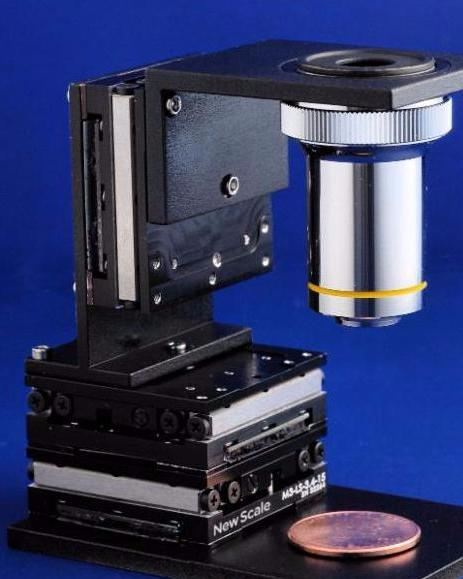 PHOTO - LINEAR XYZ STAGE WTIH MICROSCOPE OBJECTIVE