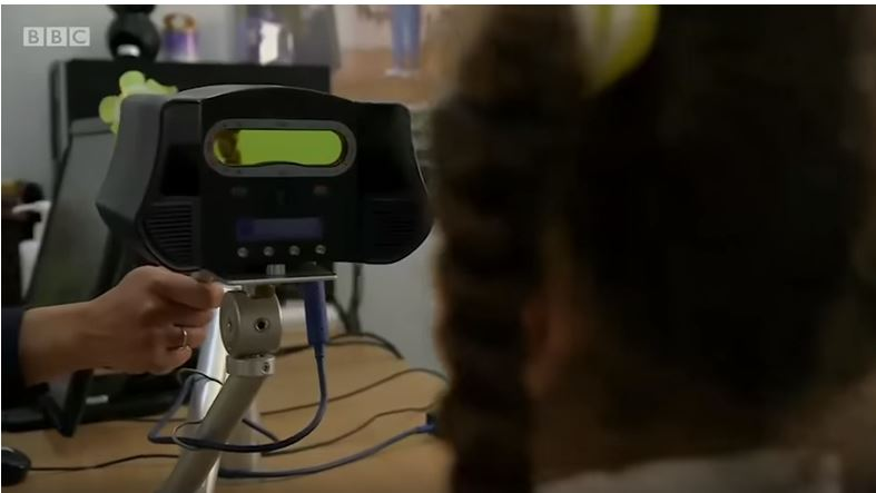 PHOTO of IrisGuard iris detection system in action. From BBC Click video.