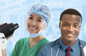 Two researchers shown in bust_ smiling_ against a light blue graphic background. The researcher on the left wears a hairnet_ scrubs_ and is holding a microscope to the left. The researcher on the right wears a shirt and tie_ and has a stethoscope draped around the neck