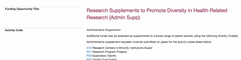 a snapshot of a text document with title_ _Research Supplements to Promote Diversity in Health-Related Research _Admin Support__ with smaller text visible below and to the left of it.