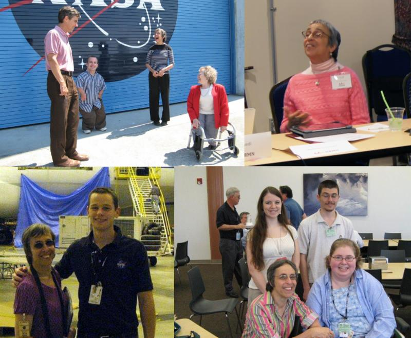 Collage of four images arranged roughly in a quadrant_ top left image depicts four individuals standing in front of a closed hangar door decorated with the NASA logo. Two of the individuals are significantly shorter than the other two_ and one of the shorter individuals is using a walker_ top right_ a woman from the first image is shown seated at a table_one hand gesticulating suggesting she is speaking to a group_ bottom left_ the same woman from the prior two photos is shown standing next to a young man whose hand is on her shoulder_ both indoors with an aircraft visible in the background with stairs leading up to an open door_ bottom right_ same woman depicted in other three images is shown indoors crouching next to an individual in a wheelchair_ with two individuals standing behind them and in the background_ chairs_ tables_ two individuals talking to one another and a painting on the far wall.