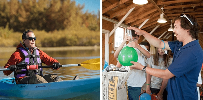 Dual images of a kayaker at Aurora Reservoir and a summer camp where an instructor helps a young child with a science experiment involving a balloon