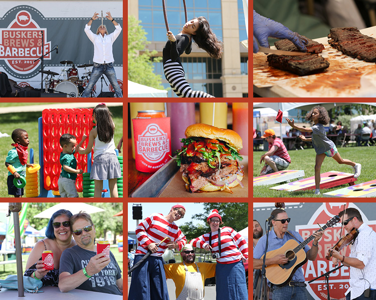 A collage of images from Buskers Brews and BBQ