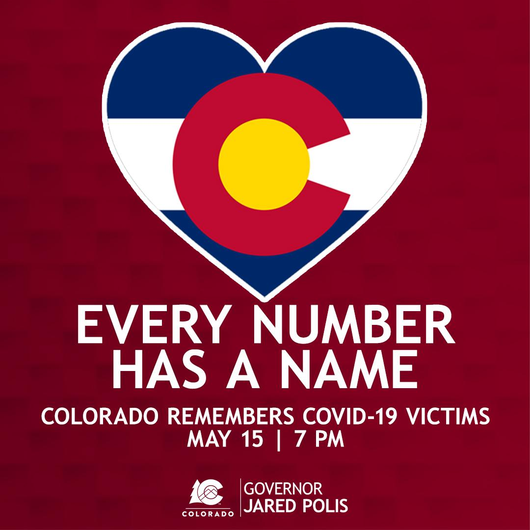 Image of Colorado flag inside a heart shape with the words Every Number Has a Name - Colorado Remembers COVID-19 Victims