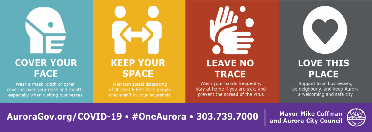 Cover Your Face - Keep Your Space - Leave No Trace - Love This Place banner image encouraging COVID-19 preventative measures
