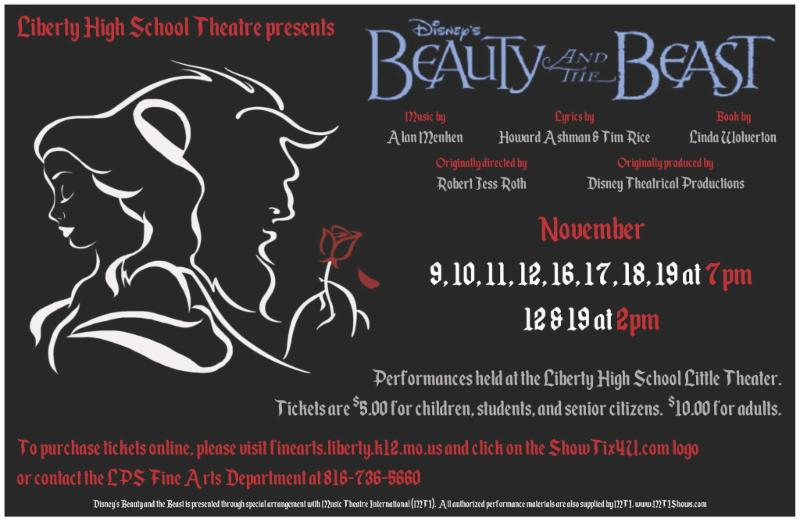 dc2ef2d6e1 LHS is excited to present Beauty and the Beast coming up November 9, 10,  11, 12, 16, 17, 18, and 19, all beginning at 7 p.m. in the Little Theater.