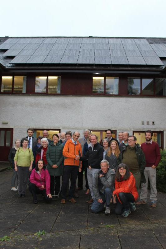 The solar PV array installed by Community Energy Cumbria (CEC) on the roof of the Lake District National Park Authority headquarters building